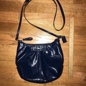 Coach patient blue crossbody bag